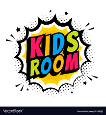 Kids Room Word Sign Cute Pop Art Style Comic Vector Image