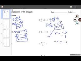two step equations with integers