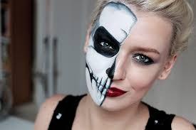 tutorial simple half skull glam make