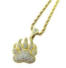 gold diamond bear claw pendant necklace