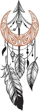 Amazon Com Divine Designs Orange Crescent Moon Arrow Dream Catcher Vinyl Decal Sticker 4 Tall Automotive