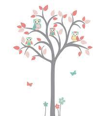 Girl Room Owl Tree Wall Decal Owl Tree Wall Sticker Girl Etsy