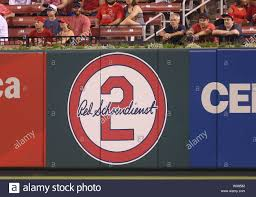 A New Wall Decal Is Now On Display In Right Center Field Honoring The Late St Louis Cardinals Player And Manager Red Schoendienst During A Game Against The San Diego Padres At