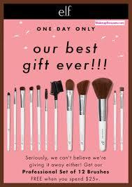 elf cosmetics 12 piece free bonus brush