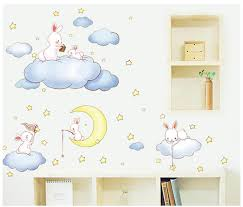 Cartoon Animal White Clouds Rabbit Star Moon Wall Stickers Kids Rooms Baby Bedroom Home Decor Moon And The Stars Wall Decals Buy At The Price Of 4 55 In Aliexpress Com Imall Com