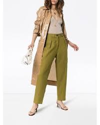 Mara Hoffman Jade High-waisted Straight Leg Linen Trousers in Green - Lyst