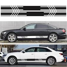 D 1044 2pcs Car Stickers Car Body Racing Side Door Long Striped Stickers Auto Vinyl Decal For All Cars Suv Decoration Decals Car Stickers Aliexpress