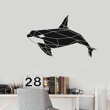 Geometric Killer Whale Orca Wall Decal Sea Animal Art Vinyl Stickers Office Classrooms Kids Bedroom Bathroom Home Decor S850 Wall Stickers Aliexpress