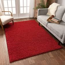 Solid Retro Modern Red Shag 3x5 3 3 X 5 3 Area Rug Plain Plush Easy Care Thick Soft Plush Living Room Kids Bedroom Walmart Com Walmart Com