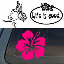 1pc Hibiscus Butterfly Rose Flower Floral Sticker Car Wall Removable Vinyl Decal Ebay