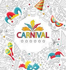 Tarjeta De Invitacion De Carnaval Con El Diseno De Dibujo De Mano