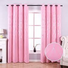 Amazon Com Anjee Pink Blackout Curtains For Bedroom With Foil Print Diamond Pattern 84 Inch Thermal Insulated Window Curtains For Kids Room 52 X 84 Inches Kitchen Dining