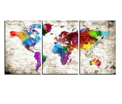 Amazon Com Extra Large Wall Art Canvas Push Pin World Atlas Map Wall Art Canvas Sets Watercolor Map Poster Printed On Canvas Framed Map Of World Canvas Prints Wall Art Hr133 Handmade