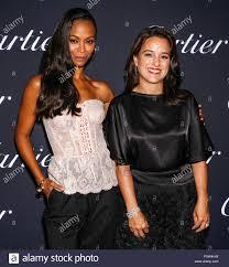 New York, NY - September 06, 2018: Zoe Saldana (L) and Mercedes Abramo  attend 2018 Cartier Precious Garage party at Maison Cartier on 5th Ave  Stock Photo - Alamy