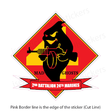 2nd Battalion 24th 2 24 Marine Corp 4th Division Bumper Sticker Vinyl Window Decal