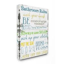 Stupell Industries Bathroom Rules Typography Bathroom Frameless 30 In H X 24 In W Bath Canvas Print In The Wall Art Department At Lowes Com