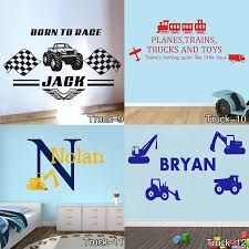 Personalised Name Construction Diggers Vinyl Wall Art Sticker Decal Childrens Farm Trucks Cars Wall Decals Mural For Kids Room Mural For Kids Car Wall Decalname Wall Decals Aliexpress
