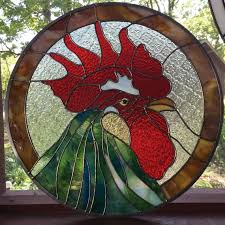 stained glass rooster panel