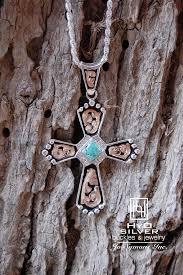 blue turquoise large cross pendant