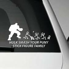 Hulk Smash Stick Figure Family Vinyl Adhesive Car Decal Sticker Ebay