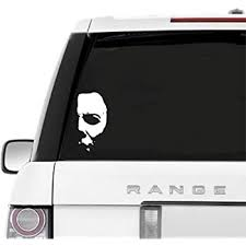 Amazon Com A B Trader S Car Decals Michael Myers Creepy Half Face 5 8 White Vinyl Decals Scary Horror Movies Creepy Halloween Stickers For Cars Laptops White Arts Crafts Sewing