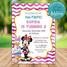 Invitacion De Cumpleanos Editable De Minnie Mouse Y Daisy Diy