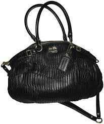 coach black leather satchel tradesy