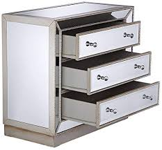 3 drawer silver mirrored accent chest