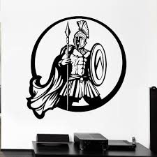 Vintage Wall Decal Ancient Greek Warrior Spartan Shield Battle Spear Vinyl Wall Stickers Home Decoration For Living Room Z122 Wall Stickers Aliexpress