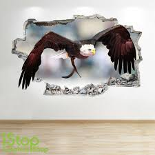 Bedroom Lounge Nature Wall Decal Z595 Flying Eagle Wall Sticker 3d Look