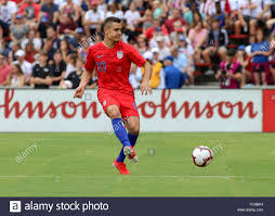 Cincinnati, Ohio, USA. 9th June, 2019. USMNT player Aaron Long plays the  ball during an international friendly soccer game between the US Men's  National Team and the Venezuela National Football Team at