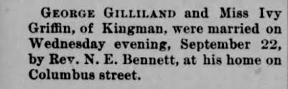 George Gilliland marriage to Ivy Griffin - Newspapers.com