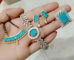 indian bollywood necklace blue stone ad
