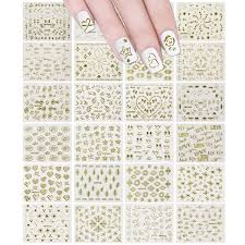 Amazon Com 24 Sheets Gold Crowns Gold Stars Gold Vines Nail Stickers Set Nail Art Beauty