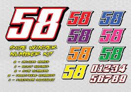 Side Winder Race Car Numbers Vinyl Decal Kit Package Ebay
