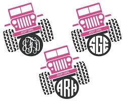 Jeep Girl Monogram Decal Jeep Girl Sideways Vinyl Decal Etsy