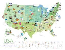 โปสเตอร์ฟรี แผนที่ผลิตภัณฑ์เด่น 50 รัฐ ของสหรัฐอเมริกา