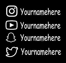 2x Custom Username Instagram Youtube Snapchat Twitter Car Window Decal Sticker Ebay