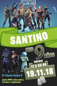 30 Invitaciones Para Cumpleanos Fortnite Personalizada 10x14