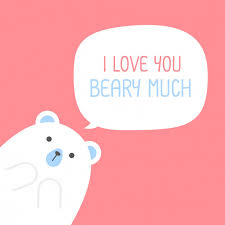cute polar bear with a heart is saying