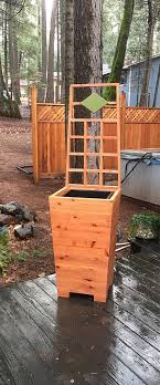 extra tall tapered redwood planter