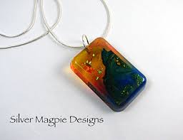 abstract polymer clay and resin necklace