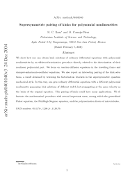 PDF) Supersymmetric pairing of kinks for polynomial nonlinearities | Haret  Rosu - Academia.edu