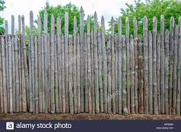 Ancient Wooden Fence With Sharp Tops For Protection Stock Photo Alamy