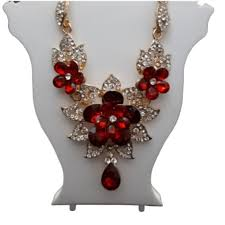 red clear crystal statement necklace