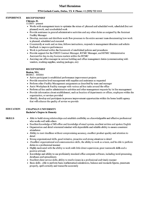 remote receptionist resume