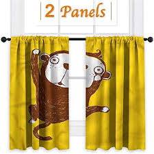 Amazon Com All Of Better Monkey Kids Room Curtain Panels Drapes Set Hand Drawn Animal Design 48x84 Inch Home Kitchen