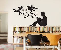 Boy Reading Magic Book Wall Decal Vinyl Art Stickers For Etsy Book Wall Vinyl Art Stickers Library Decor