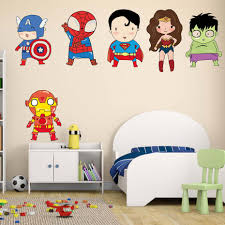 Superhero Wall Stickers Kids Boy Bedroom Decor Batman Superman Vinyl Art Wall Decals For Kids Room Cartoon Superheros Wallpaper Amazing Deals