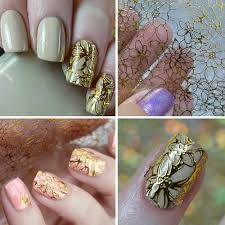 Vova 3d Diy Gold Nail Art Bronzing Hollow Stickers Decal Full Cover Metal Frame Decor